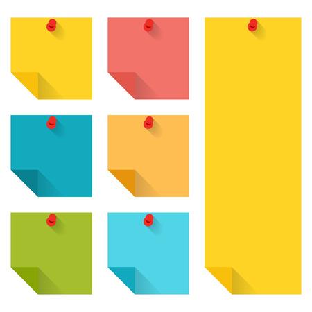 papel de notas: Diseño plano de notas adhesivas de colores clavado. Infografía elementos aislados sobre fondo blanco. Vectores