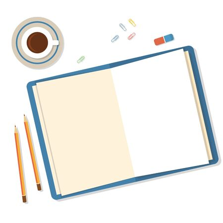 Open book with clean sheets, pencils and clips icolated on white background.Flat mockups for website design, infographics, web and mobile services and apps.