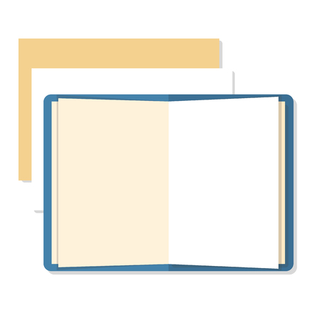 Flat mockups of open book and paper sheets with place for text. Tamplate for website design, infographics, web and mobile services and apps.