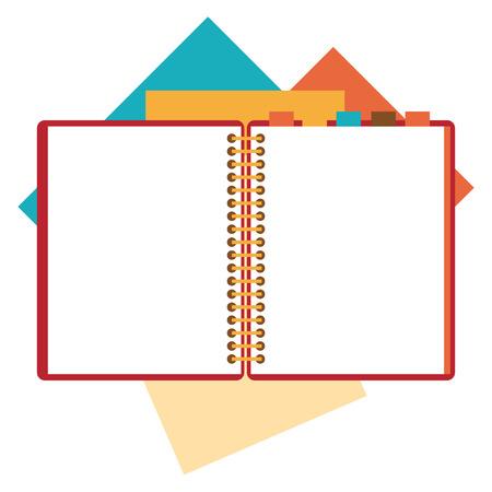 Dise�o plano de la libreta abierta, hojas de papel aislado en blanco lugar pizca del fondo para el texto.