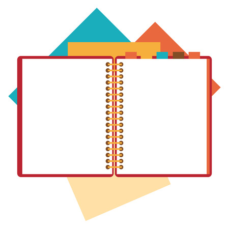Flat design of open notepad, paper sheets isolated on white background whit place for text. Illustration