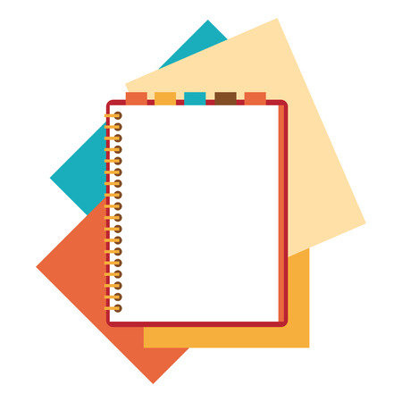 open diary: Flat design notepad and paper sheets isolated on white background whit place for text. Illustration