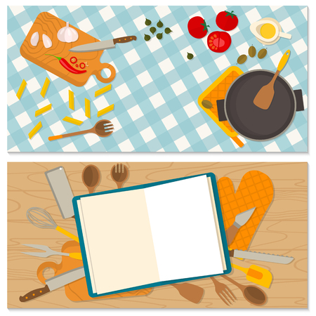 cooking chef: Flat design food and cooking banner. It may be well used to illustrate a food blog, the restaurants menu, cover cookbooks.