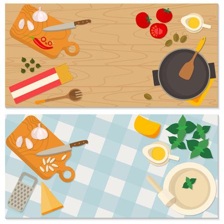 Alimentos Flat diseño y la bandera de cocción de la cocina tradicional italiana, receta de pasta. Puede ser también utilizado para ilustrar un blog de comida, el menú del restaurante, libros de cocina cubierta.