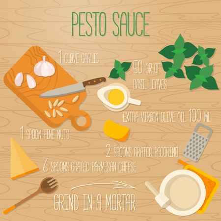 recipe background: Flat design square banner of recipe  Italian traditional cuisine, Pesto souce recipe on wooden background. It may be well used to illustrate a food blog, the restaurants menu. Illustration