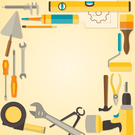 Vector flat design frame with do-it-yourself tools for construction and home repair. Web banner concept