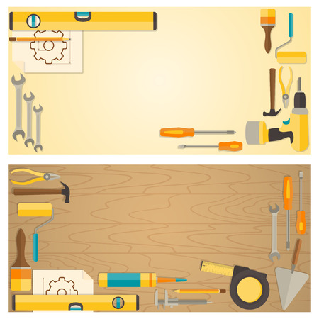 Web banner concept of DIY shop. Vector flat design background with do-it-yourself tools for construction and home repair on wooden surface.