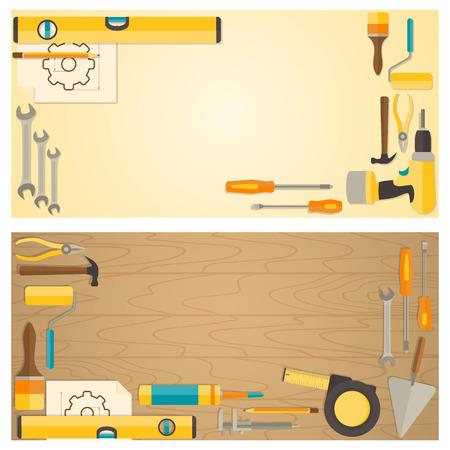 Web banner concept van de bouwmarkt. Vector plat ontwerp achtergrond met doe-het-zelf gereedschap voor de bouw en thuis reparatie op houten oppervlak. Stock Illustratie