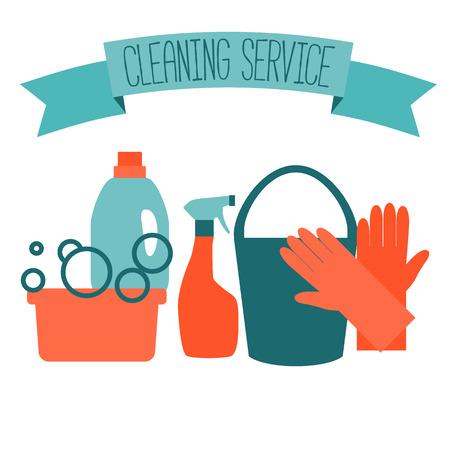 Diseño plano para el servicio de limpieza aislados en blanco. Ilustración del vector. Vectores