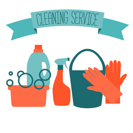 Flat design for cleaning service isolated on white. Vector illustration. Imagens - 45944397