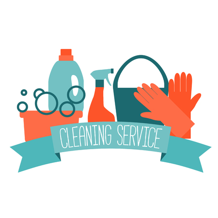 servicio domestico: Diseño plano para el servicio de limpieza aislados en blanco. Ilustración del vector. Vectores