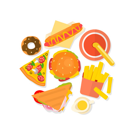 Set of flat design fast food icons isolated on white background. Vector illustration. Illustration