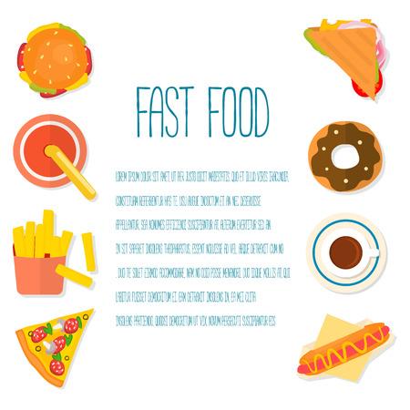 elementos de dise�o de planos para la infograf�a de comida r�pida o tamplate men�. Ilustraci�n del vector.