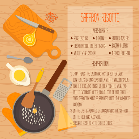 design vector: Flat design card. Traditional italian cuisine recipe with ingredients, space for text on wooden background. Vector illustration.