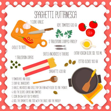 chef italiano: Diseño de la bandera cuadrada plana de receta de cocina tradicional italiana, espaguetis Souce receta. Puede ser también utilizado para ilustrar un blog de comida, el menú del restaurante.