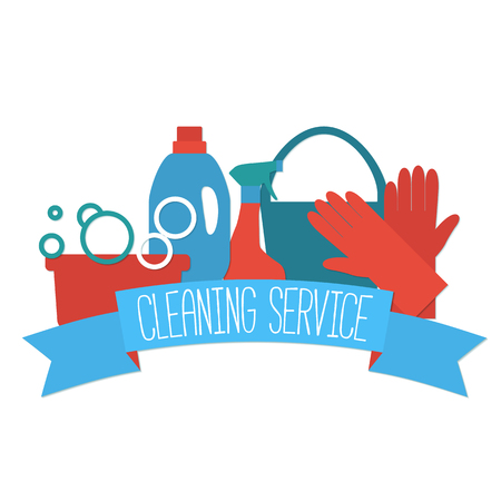 spring cleaning: Flat design for cleaning service isolated on white.
