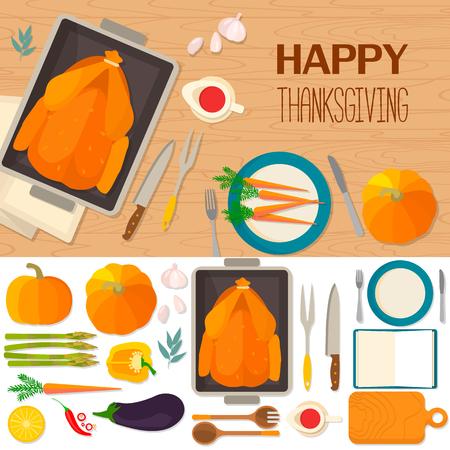 Típico festiva cena de Acción de Gracias: pavo asado, salsa de arándano, calabaza, verduras. Puede ser utilizado para los menús, el blog culinario, invitaciones a cenar. Antecedentes y objetos ilustraciones. Vectores
