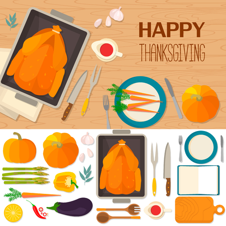 Typical festive Thanksgiving dinner: roast turkey, cranberry sauce, pumpkin, vegetables. It can be used for menus, culinary blog, invitations to dinner. background and objects illustrations. Ilustração