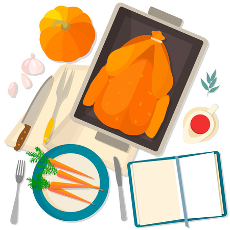 roast turkey: Flat design card for Thanksgiving Day. Typical festive dinner: roast turkey, cranberry sauce, pumpkin, vegetables. It can be used for menus, culinary blog, invitations to dinner.