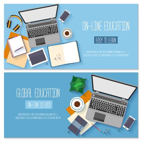 education: 온라인 교육, 교육 과정, 전자 학습, 원격 교육 플랫 디자인. 일러스트