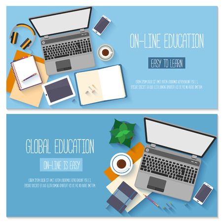 computer training: Flat design for online education, training courses, e-learning, distance trainings.