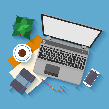 Flat design mockup per office workspace with objects for creative workplace design. Stock Illustratie