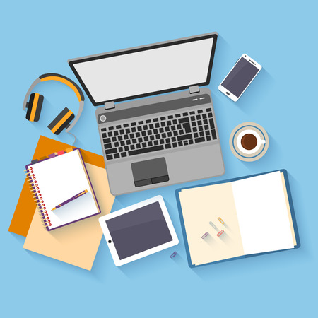 Flat design mockup per office workspace with objects for creative workplace design. Illusztráció