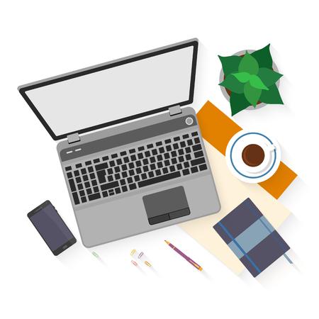 Platte ontwerp mockup per bureauwerkruimte met voorwerpen voor creatieve werkplek ontwerp geïsoleerd op een witte achtergrond witn lange schaduw. Stock Illustratie