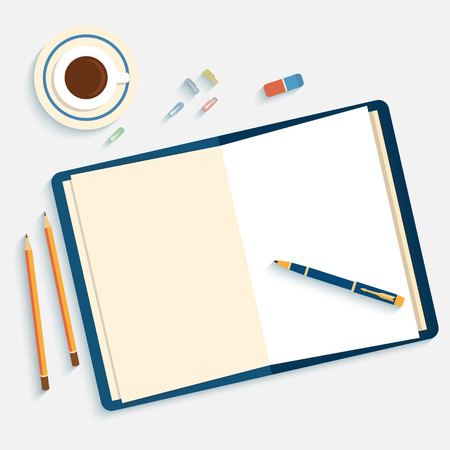 open diary: Flat design mockup per office workspace with open book and objects for creative workplace isolated on white background witn long shadow.