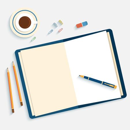 pera: Ploché provedení modelářem na kancelářské plochy s otevřenou knihou a objekty pro kreativní práci na bílém pozadí witn dlouhý stín.