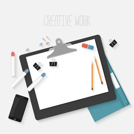 design objects: Flat design mockup per creative workspace with objects for creative workplace design isolated on white background with long shadow.