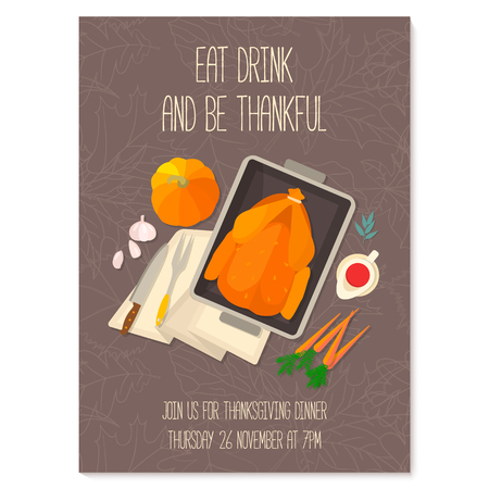 roast dinner: Flat design invitation card for Thanksgiving dinner. Typical festive dinner: roast turkey, cranberry sauce, pumpkin, vegetables. It can be used for menus, culinary blog, invitations to dinner.