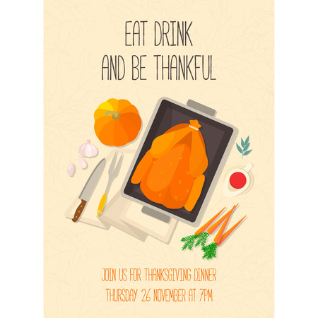 roasted turkey: Flat design invitation card for Thanksgiving dinner. Typical festive dinner: roast turkey, cranberry sauce, pumpkin, vegetables. It can be used for menus, culinary blog, invitations to dinner.