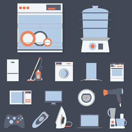 Diseño plano ajustado iconos modernos de electrodomésticos aislados.