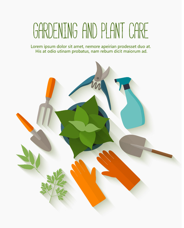 garden plant: Flat design for gardening and plant care with garden tools icons isolated on white with long shadow.