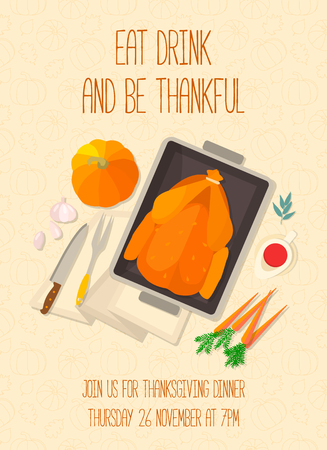 thanksgiving day greetings: Flat design invitation card for Thanksgiving dinner. Typical festive dinner: roast turkey, cranberry sauce, pumpkin, vegetables. It can be used for menus, culinary blog, invitations to dinner.