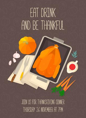 thanksgiving day symbol: Appartamento card design invito per la cena del Ringraziamento. Cena tipica festa: tacchino arrosto, salsa di mirtilli, di zucca, verdure. Può essere utilizzato per i menu, blog culinario, inviti a cena.