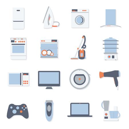 フラットなデザインは、白い背景で隔離の家庭電化製品のモダンなアイコンを設定しました。