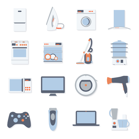 Flat design set modern icons of home appliances isolated on white background.