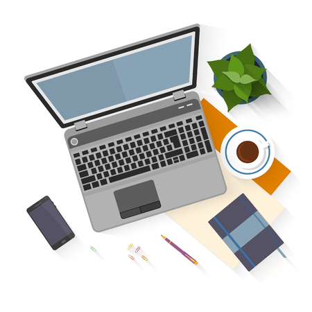 Maqueta Dise�o plano por espacio de trabajo de oficina con objetos para el dise�o del lugar de trabajo creativo aislado en fondo blanco con la sombra larga.
