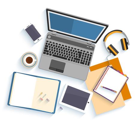 Platte ontwerp mockup per bureauwerkruimte met voorwerpen voor creatieve werkplek ontwerp geïsoleerd op een witte achtergrond met lange schaduw. Stock Illustratie