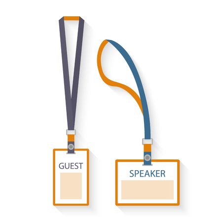 events: Template, flat design icons of lanyard and badge isolated on white.