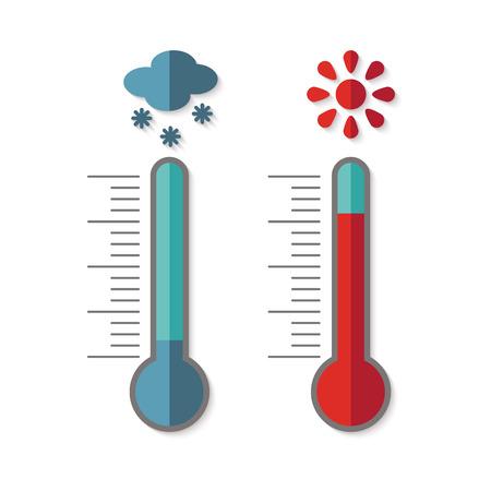 �cold: Piatti icone del design di termometro misura caldo e del freddo, con sole e fiocco di neve isolato su sfondo bianco. Vettoriali