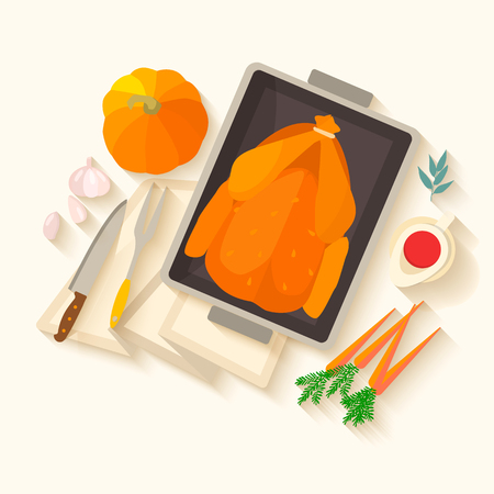 Flat design invitation card for Thanksgiving dinner. Typical festive dinner: roast turkey, cranberry sauce, pumpkin, vegetables. It can be used for menus, culinary blog, invitations to dinner.