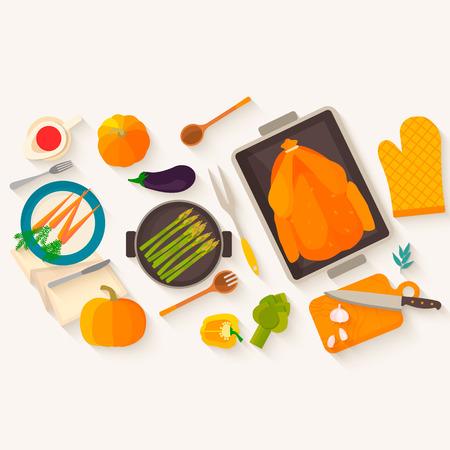 pavo: Diseño plano de la cena de Acción de Gracias. Típica cena festiva: pavo asado, salsa de arándano, calabaza, verduras. Puede ser utilizado para los menús, el blog culinario, invitaciones a cenar. Vectores