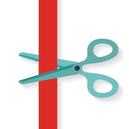 Planos de diseño icono de las tijeras que cortan la cinta roja vertical.