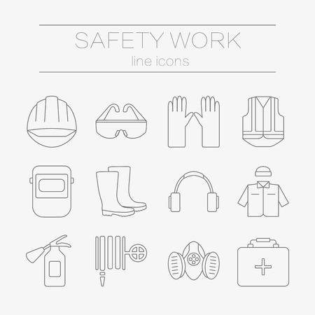 respirator: set of safety work icons, including tools. Modern line style labels of safety and protection elements.