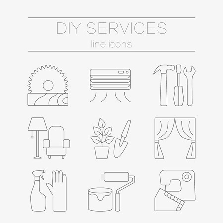 sawn: set of line icons for DIY services. Modern line style labels for DIY shop.