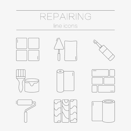 set lijn iconen voor DIY, afwerkingsmaterialen, met inbegrip van gereedschappen.