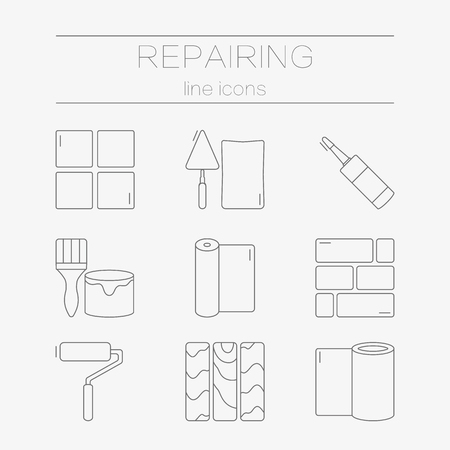 tile flooring: set of line icons for DIY, finishing materials, including tools.